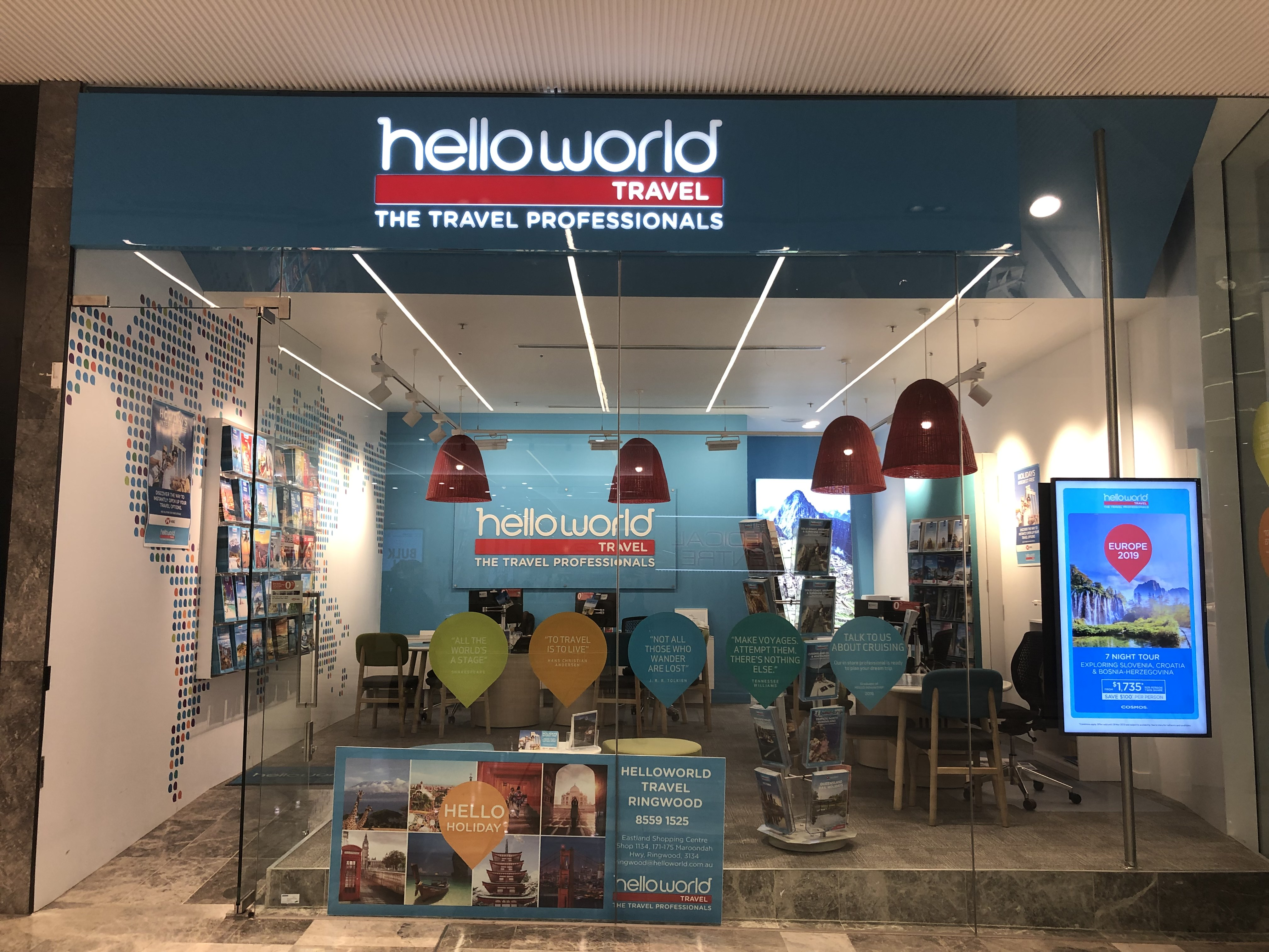 4757e80e09 Helloworld Travel Ringwood is a new store in Eastland Shopping Centre. The  staff have over 30 years experience in the travel industry with plenty of  ideas ...